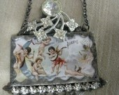 Soldered Glass SALE Assemblage Necklace - Cherub Orchestra -  Reserved For Nil