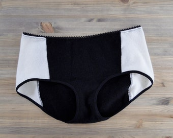 Cashmere hipster panties - black and white  - washable in cold water