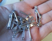 Fork Charms, Tiny Forks, Miniature Silverware, Utensils, Silver Pewter, 10 Pieces, Dollar Charm Sale