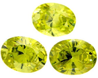8x6mm Oval Faceted ~ NEON Lime Green CZ's ~ Cubic Zirconias ~  FDK
