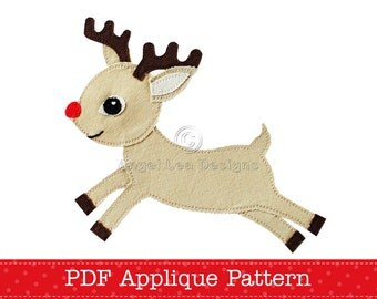 Reindeer Applique Pattern Christmas Reindeer Applique Template PDF Digital ePattern