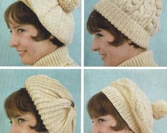 PDF Knitting Pattern Ladies Aran Patterned Hats and Berets