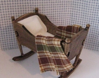dollhouse cradle, country style, dollhouse miniature, twelfth scale,