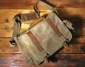 Canvas Pathfinder Messenger Bag - Custom Monogram - Olive Green