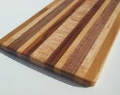 Curly Maple, Oak, Walnut and Butternut Cutting Board