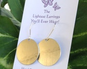 Gold Circle Hammered  Aluminum Dangly Earrings