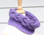 Knit scarf knit cowl - Hand knit chunky cowl scarf - circle scarf with cable - lilac purple women's winter accessory - ready to ship