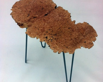 Mid Century Modern Style Natural Live Edge Side Table - Solid Lace Maple Burl Tea Table - Organic Shape - Slab To Be Determined