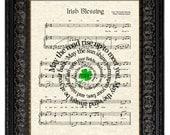 Irish Blessing Art Print, Irish Blessing Sheet Music Art Print, Irish Song Lyric Art Print, Irish Saying Art, Irish Prayer Art