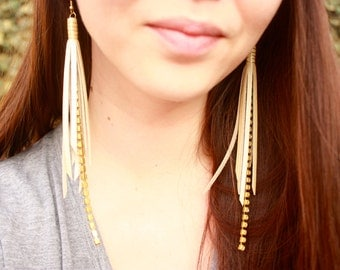 Leather Tassel Earrings - Cream Leather Fringe and Gold Wire Wrap with Gold Nickel Free Ear Wires