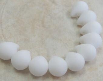 14x10mm Matte Opaque White Czech Glass Teardrop Beads - Qty 10 (BS326)