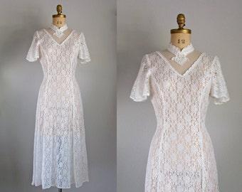 1990s wedding dress - bohemian white sheer lace flutter sleeve midi dress small medium
