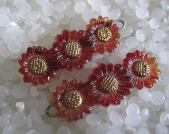 Vintage barrette, sweet row of daisies,  brown and gold