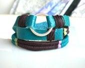 Turquoise Leather Wrap Bracelet Karma Bracelet Friendship Bracelet Boho Bracelet Woven Bracelet  Leather Bracelet Beach Jewelry
