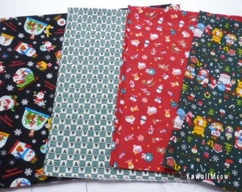 SALE - Japanese Fabric - Christmas 4 Fat Quarter Bundle Set - F194