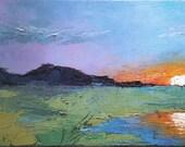 "Impressionist art, Marsh Sunrise Painting, Painterly Art, Brightly colored art, 18x36x 1.5"" Oil"