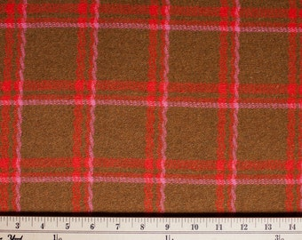 Funky Pink and brown wool plaid fabric