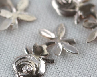 Vintage Rose Bud w stem sequins - Teensy Tiny Rosy Silver embossed (50)