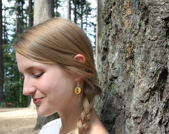 Wood Bee Earrings- Yellow Wood with Cute Bees- In Oregon Cascara Wood (MOD 13)