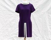 Purple Wool Short Sleeve 60's Sheath Dress - Women's L