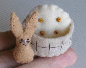 Bunny Rabbit miniature plush in  stiffened felt basket