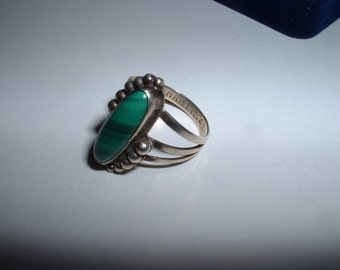 Vintage Sterling Silver Malachite Martin 7 1/4 Ring Tribal Native American