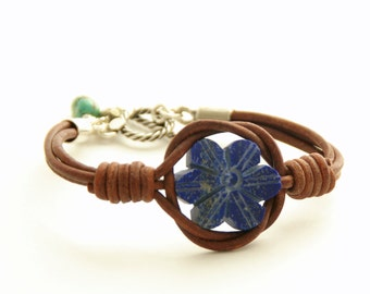 Lapis Lazuli Bracelet. Raw Matte Lapis Flower, Leather, Sterling Silver and Turquoise