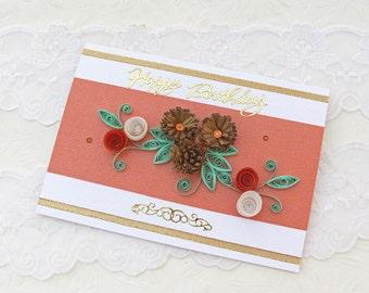 Sale Birthday Card - Paper Quilling Card -Paper Quilled- Gold Bronze- Paper Flowers- Birthday Congratulations -Australia