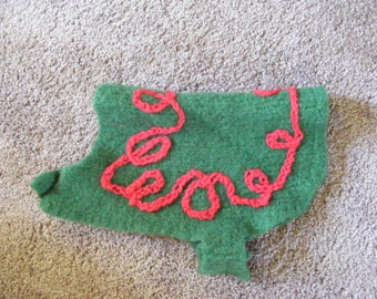 Knitted Christmas Green and Red Felted Dog Sweater