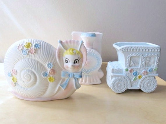 vintage baby planters - snail - choo choo train - trolley car pastel nursery baby shower