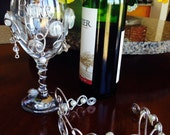 2 PCs  BRIDE wine Glass and Tiara for the Bride to Be  Bachelorette Party Beaded glasses  Wine Diva  Shabby Chic
