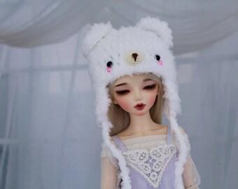 White Bear Hat for MSD BJD, 1/4 Dollfie, Minifee