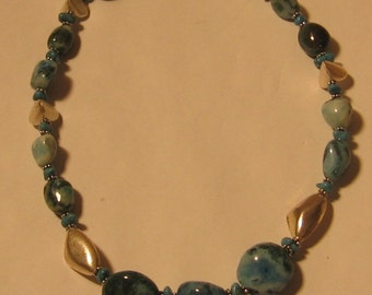 Turquoise and Silver Necklace - 1141