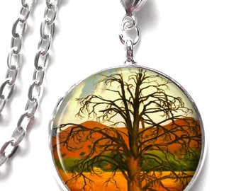 Resin Pendant -Okeefe Dead Pinon Tree Art Pendant, Resin Pendant, Photo Charm Pendant, Picture Pendant  (0156)