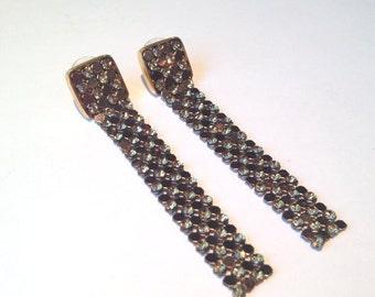lovely vintage 90s Swarovski brown / bronze mesh and rhinestone dangle pierced earrings // designer