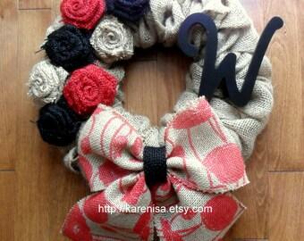"Burlap Wreath, Front Door Wreath, Burlap Wreath with Burlap Flowers, Natural Burlap, Red, Black, Monogram, approximately 14"" x 18"""