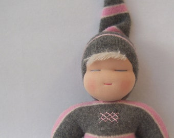 Sweetheart Baby - Waldorf Doll - Grey and Pink Stripes