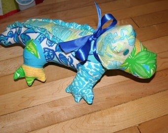 Alligator made with Lilly Pulitzer fabric