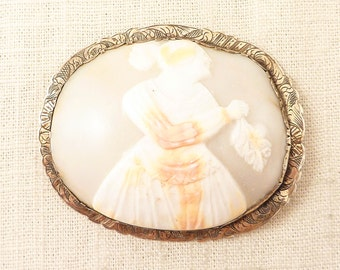 Antique Victorian Hand Engraved Silver Huge Shell Cameo Brooch