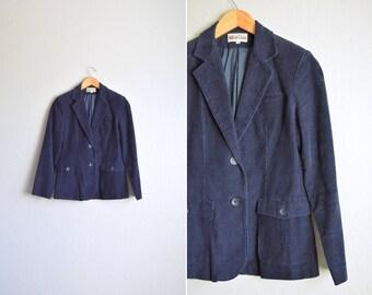 SALE / vintage '90s navy blue CORDUROY SLIM fit blazer. size m.