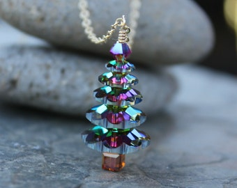 Color changing crystal Christmas tree gold necklace - green, gold, magenta - luxe holiday sparkle -14k  gold fill - free shipping USA