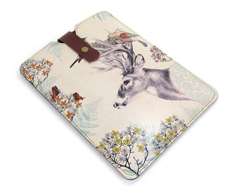 Leather iPad mini case/ iPad mini Retina case/ Tablet Case/ Kindle Paperwhite - Stag and Birds