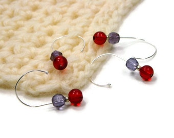 Removable Stitch Markers, Crochet, Snag Free, Beaded, Purple, Violet, Red
