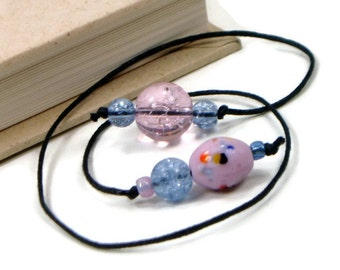 Book Thong Beaded Bookmark Pink Blue Book Cord String Bookmark Gift under 5 Book Club Teacher Gift