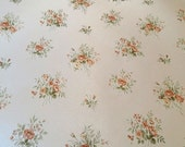 Vintage wallpaper, floral flowers posies, background shimmer pearl salmon pink and green