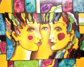 Print of my batik painting . He and She .