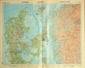1958 Vintage Map of Denmark, Faeroes (Faroe Islands), and Norway West - Denmark Vintage Map - Large - Vintage Denmark Map