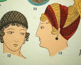 1925 French Art Deco Hand Coloured Pochoir Print on Greco-Roman Women's Fashions -- Hairstyles. Plate 7