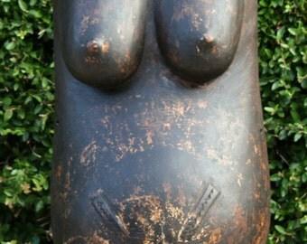 Vintage Makonde Carved Body Mask on Stand - Tanzania