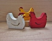Wooden Chicken Toy Waldorf  Farm Hens- Natural red buff Heritage breed